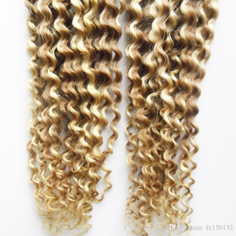 Kinky Curly I Tip Hair Pre Bonded Fusion Hair Keratin Double Drawn Remy Bonded Human Hair Extension 200g/strands
