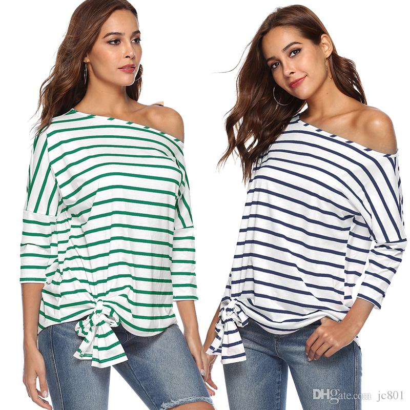 3c65ff6e841f4c Casual One Shoulder Batwing Sleeve Cotton Women T Shirt Knitted Loose  Striped Splice Basic Autumn T Shirt Tee Female Top Funny T Shirt Prints  Funky T Shirt ...