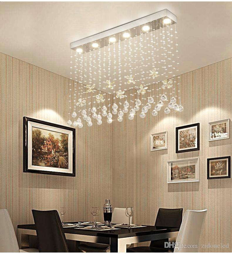 Contemporary Crystal Rectangle Chandelier Cognac Butterfly Ceiling Light Fixture Flush Mount For Dining Room Luminaire Suspension