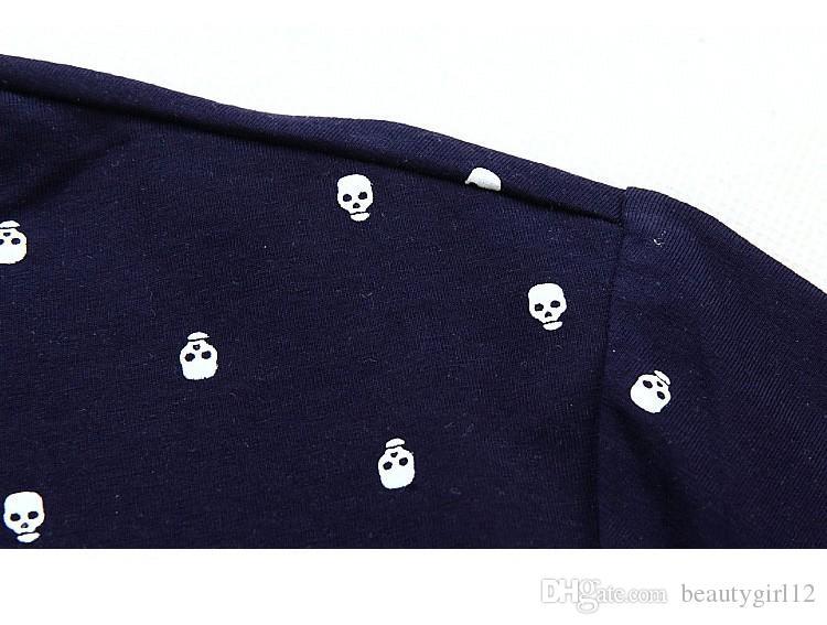 Yeni 2018 Marka POLO Gömlek Erkekler Pamuk Moda Kafatası Noktalar Baskı Camisa Polo Yaz Kısa kollu Casual Gömlek