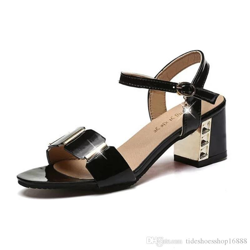 09ffaf971d Big Size 34-43 Gladiator Leather High Heels Sandals Women Strap Buckle  Thick Heels Summer Ladies Metal T-strap Shoes Woman Sandals 2018