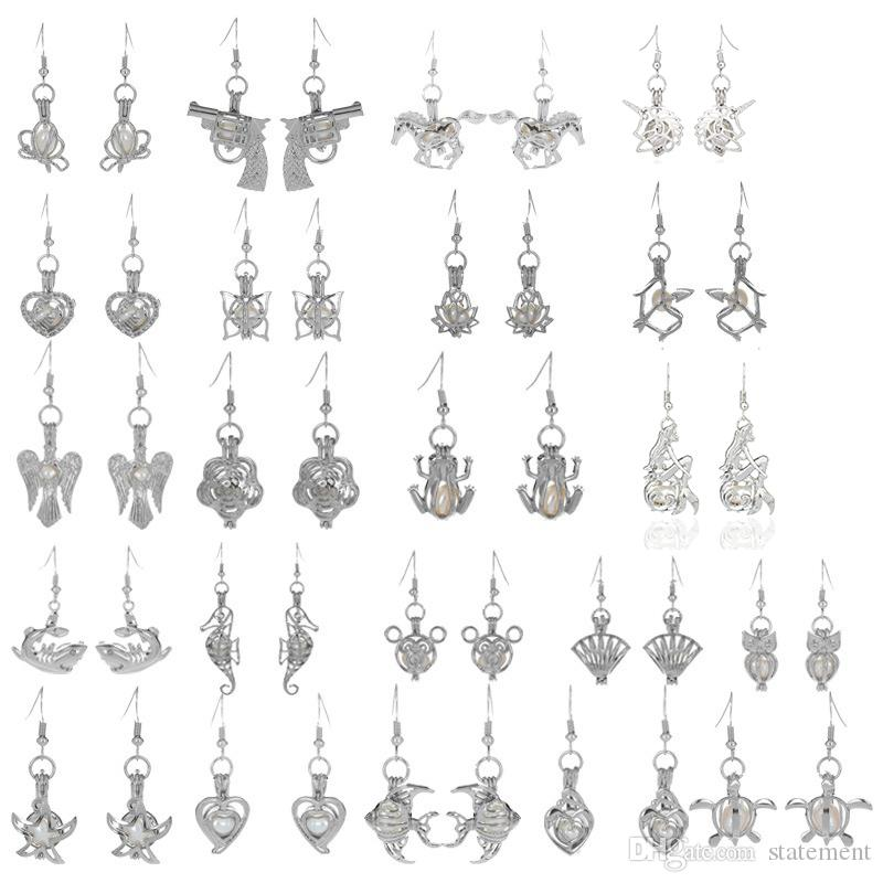 Großhandelssilberperle-Käfig-Anhänger-Baumeln-Leuchter-Ohrringe Mode-Neuheit-Medaillon-austauschbare Korn-Einhorn-Diffusor-Schmucksachen