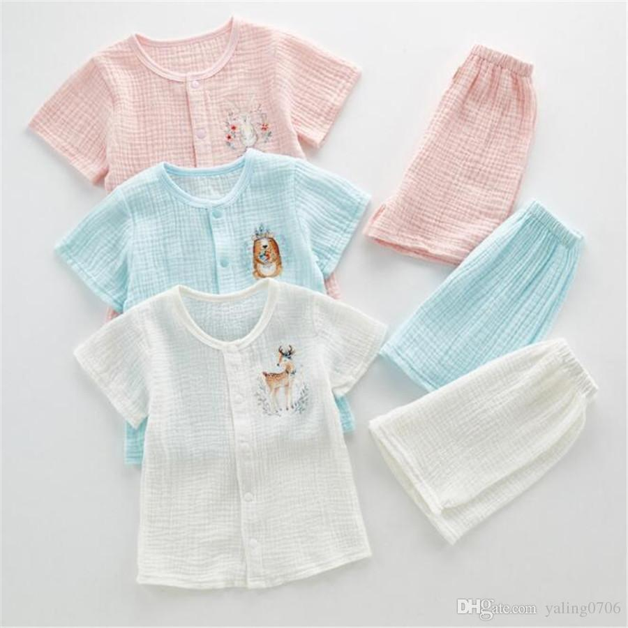 8fd1fc36c 2019 Baby Crepe Clothes 1 3 Year Old Baby Gauze Cotton Two Piece Set ...