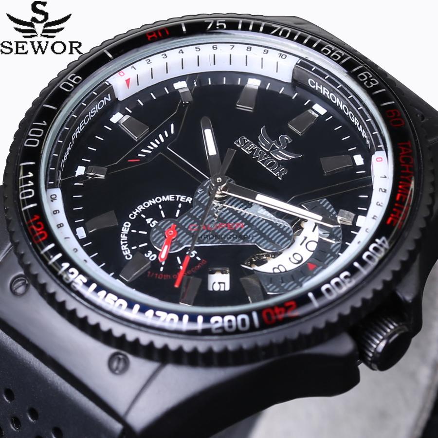 53b54899d520 Compre 2016 Nuevo SEWOR Marca De Lujo Rattrapante Hombres Relojes Reloj  Mecánico Automático Deportes Correa De Goma Masculina Aviador Piloto Reloj  De ...