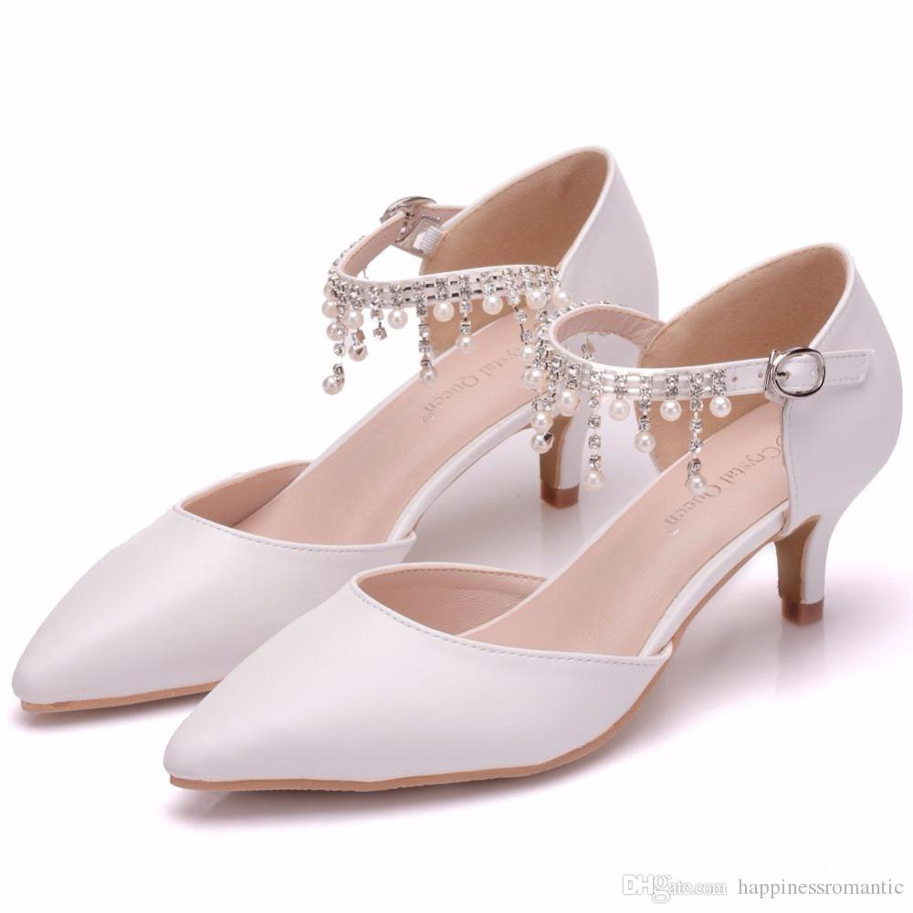 e7f15092c Summer Women High Heel Sandals Pointed Toe Thin Heels 5cm White Single Shoes  Rhinestone Mary Janes Ladies Shoes Cheap Heels Comfort Shoes From ...
