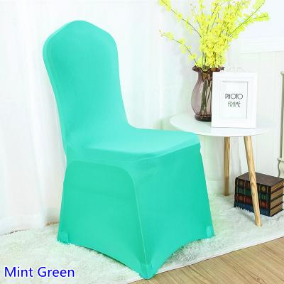 Cubierta de la silla de spandex color verde menta frente plana lycra stretch banquete silla cubierta para la decoración de la boda al por mayor en venta