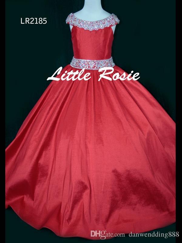Pretty Pembe Mor Kırmızı Tafta Boncuk Çiçek Kız Elbise Prenses Elbiseler kızın Pageant Elbise Özel Made Boyut 2-6 8 10 12 14 KF326185
