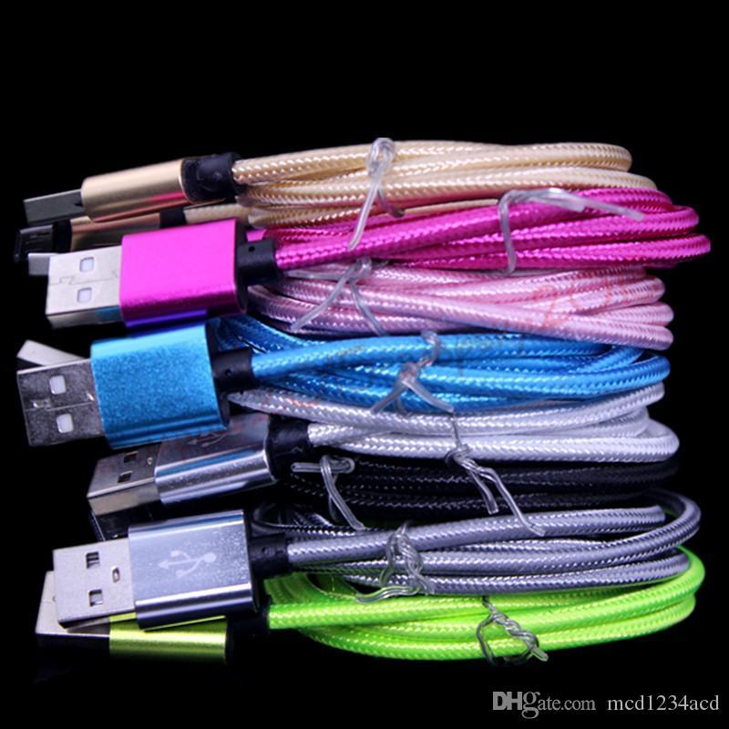 1M 2M 3M Liga Tecido Trançado Tipo C Micro USB Cabos para Samsung S4 S6 S7 HTC LG