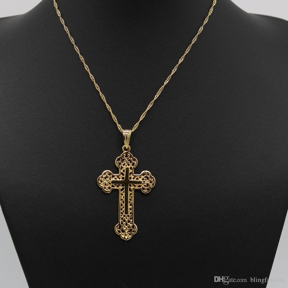Wholesale filigree womens mens cross pendant chain 18k yellow gold wholesale filigree womens mens cross pendant chain 18k yellow gold filled classic style crucifix pendant necklace jewelry necklaces for men white gold aloadofball Image collections