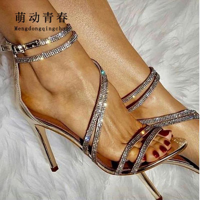 519bb3673c08 Women Pumps 2018 Fashion Peep Toe Narrow Brand Crystal Rhinestone High  Heels Sandals Sexy Ladies Cross Tied Party Pumps Shoes Mens Shoes Online  Mens Dress ...
