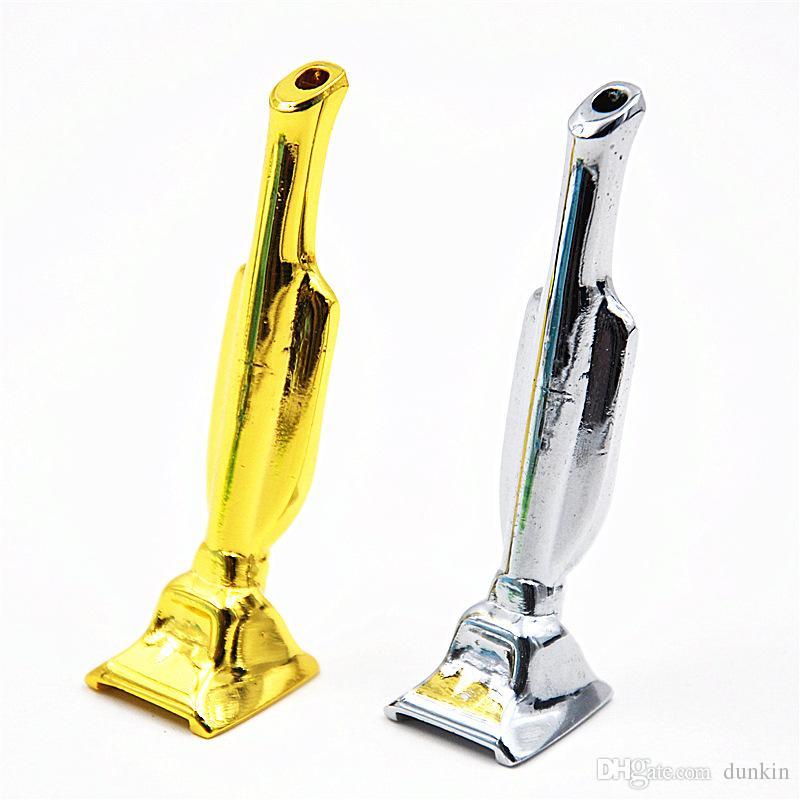 Metal Snuff Snorter Hooter Hoover Aspirateur Sniffer Bullet Rocket Sunff Snorter Tube en métal Hoover Sniff Tube en métal Argent Or