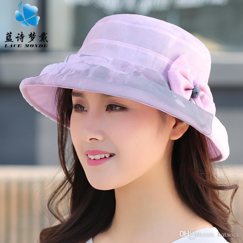 Compre Lan Shi Meng Dai Sombrero De Playa Pink Sunhat Verano Señora  Sunscreen Plegable Plegable Hecho A Mano Arco Sombrero Femenino Hilo De  Gasa Que Se ... f19a445d648