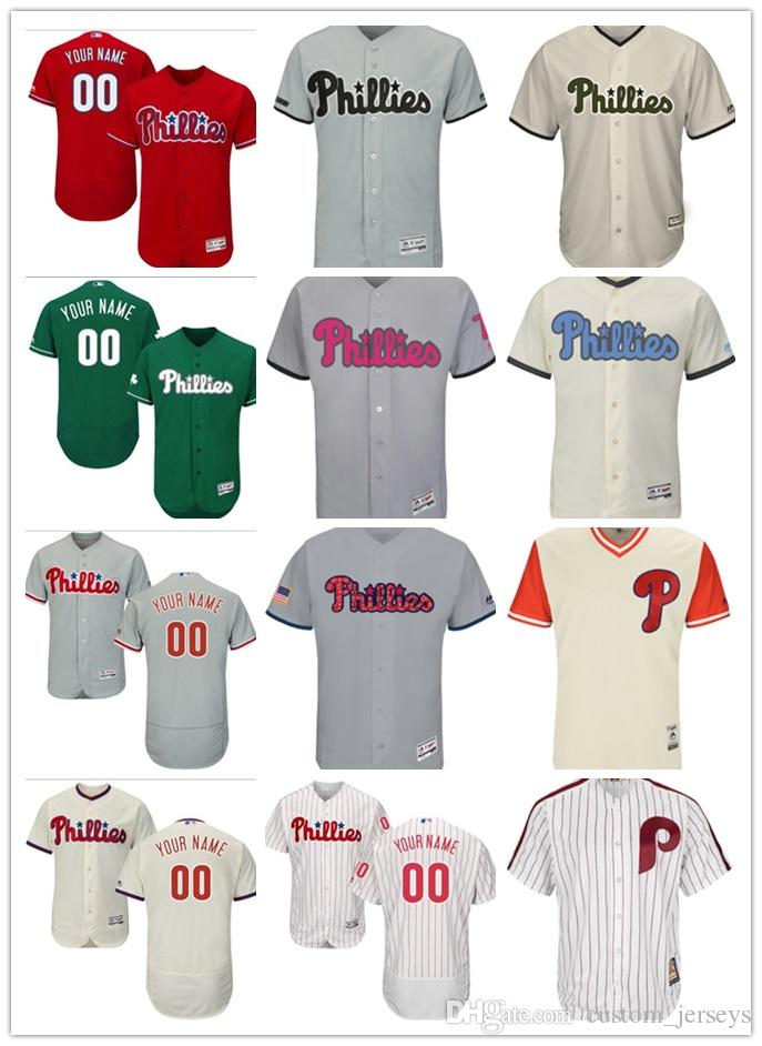 ecdc90e00 2019 Men Women Youth Majestic Custom Phillies Jersey #00 Any Your Name And  Your Number Home Red Black Grey White Kids Girls Baseball Jerseys From Lauer,  ...