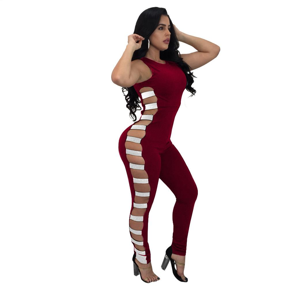 4533e26490 2019 Autumn Jumpsuits Women Cotton Blended Sexy Hollow Elastic Side  Sleeveless Sequins Club Bodysuits Long Length Playsuits RSJ001 From Bida  Jany
