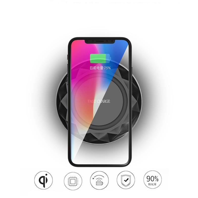 Pour iPad 8 X Qi Fast Chargeurs sans fil pad Diamants ultra-mince avec lumière LED avec câble USB Pour Samsung S6 S7 Edge S8 Plus Note5 8