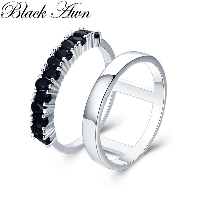 6c9d84b8aa Classic 4.7g 925 Sterling Silver Fine Jewelry Engagement Black ...