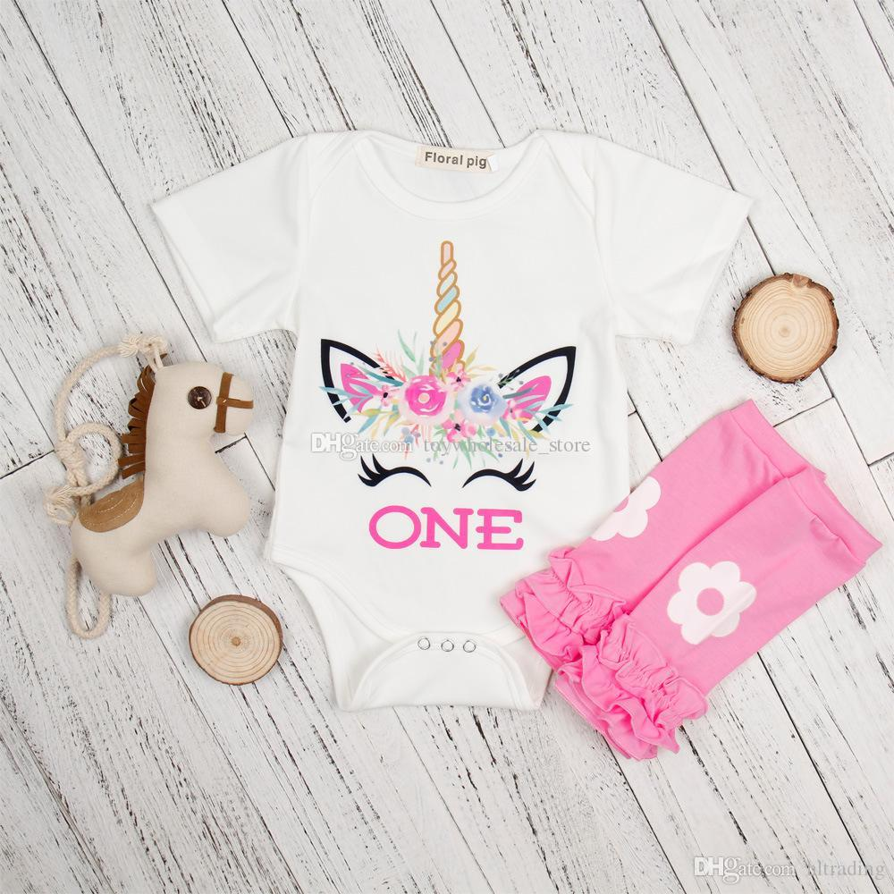 94276a61f 2019 Unicorn Letter ONE Print Rompers 2018 New Fashion Cartoon Newborns  Jumpsuits Kids Clothes With Leggings Socks C3663 From Hltrading, $5.72 |  DHgate.Com