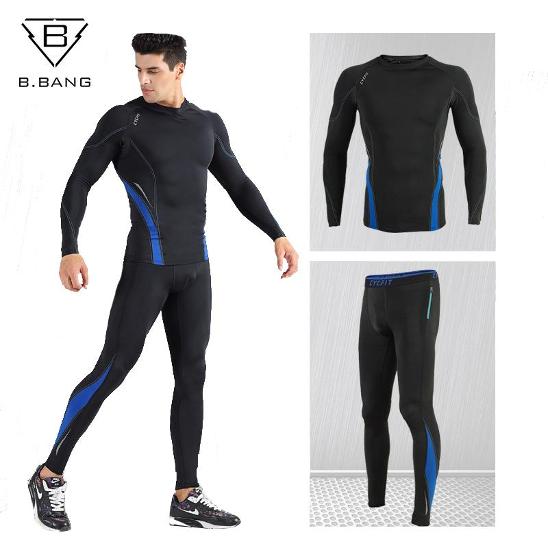 15f9faa9ac12f 2019 B.BANG Men Compression Running Sets Jogging Suits Clothes Sportswear  Long Sleeve Pants Gym Fitness Workout Tights Clothing From Yiquanwater