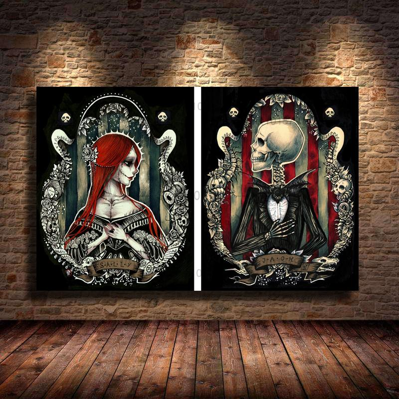 Nightmare Before Christmas,Sally Jack,2 Pieces Canvas Prints Wall Art Oil Painting Home Decor (Unframed/Framed)