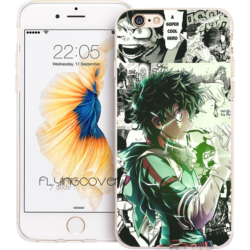 best sneakers 99146 2cc1b Coque Cool My Hero Academia Cases for iPhone 10 X 7 8 Plus 5S 5 SE 6 6S  Plus 5C 4S 4 iPod Touch 6 5 Clear Soft TPU Silicone Cover.