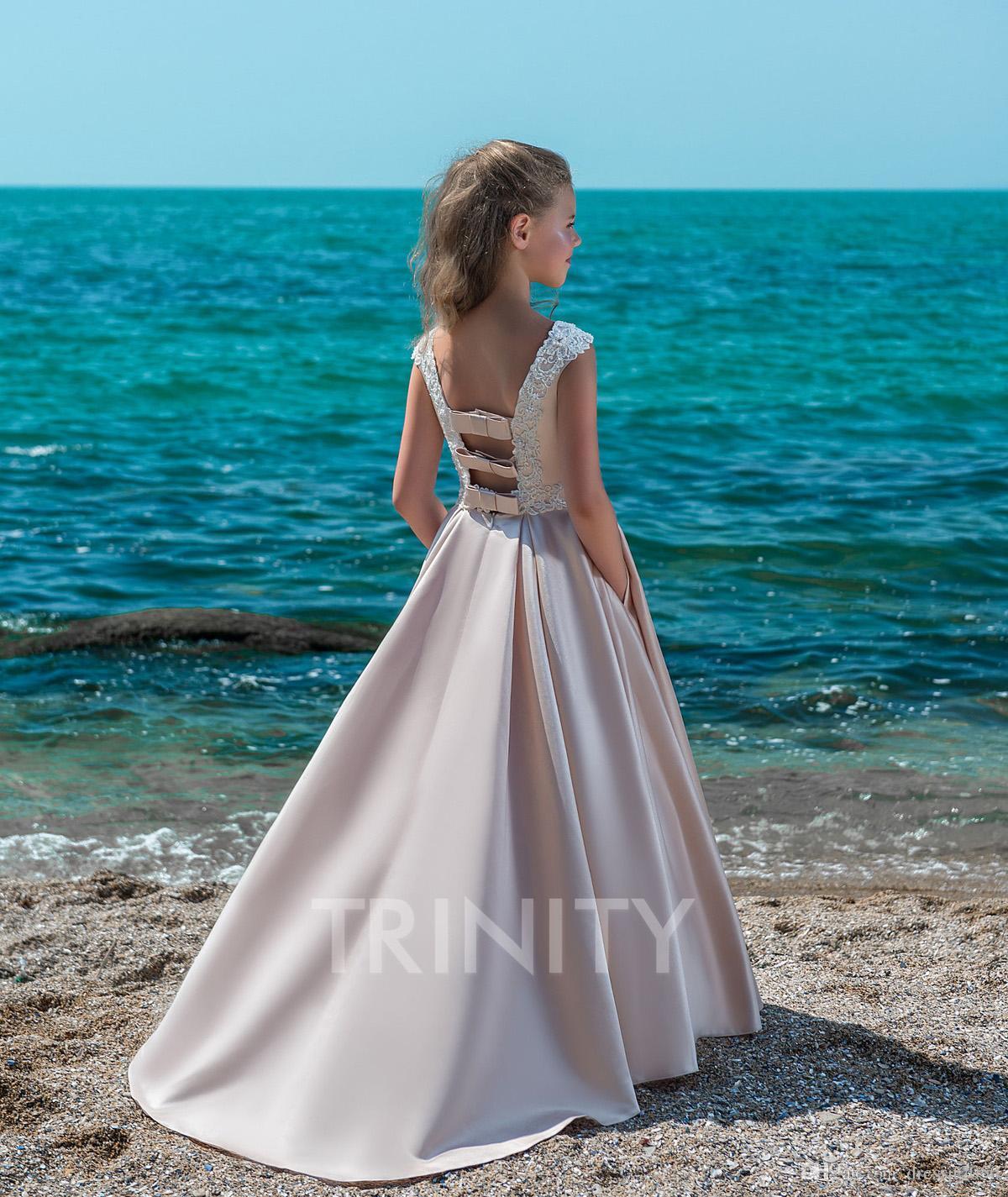 622d86755e5 Pretty Champagne Satin Applique Beads Beach Flower Girl Dresses Girls   Pageant Dresses Holiday Birthday Dress Custom Size 2-14 DF720515