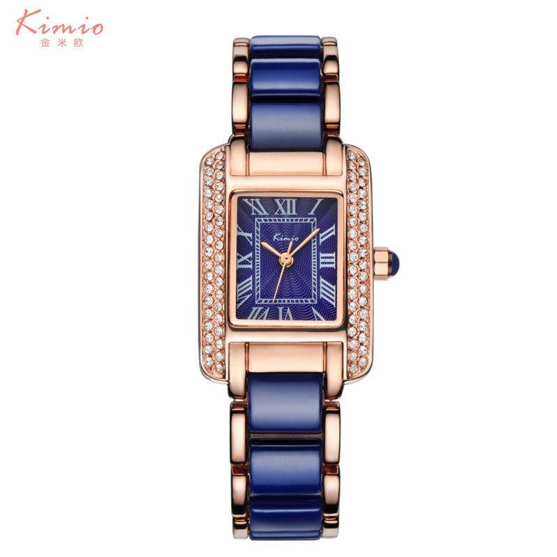 90c74fedb02 Compre Kimio Mujer Números Romanos Relojes De Diamantes De Imitación Moda  Señoras Reloj De Cristal Cerámica Negra Oro Lujo Reloj De Diamante  Impermeable ...