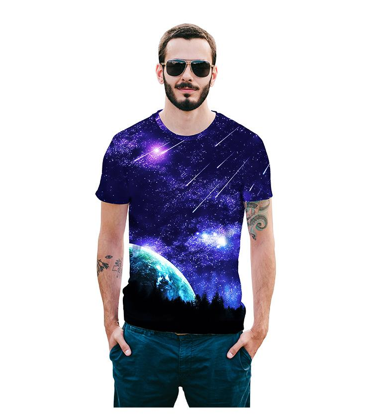 b1d9eb02d69 European Men s Shirt Summer 2018 New Men s Shirt Digital 3D Star ...