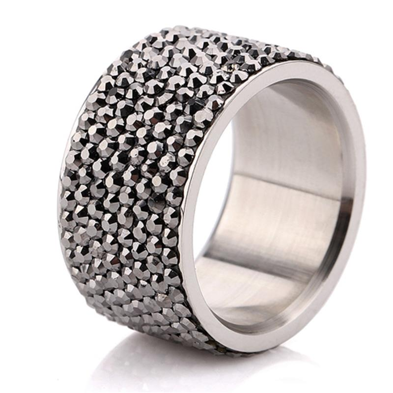 Wholesale 7 Row Jet Hematite Crystal 316L Stainless Steel Jewelry Ring Christmas gift