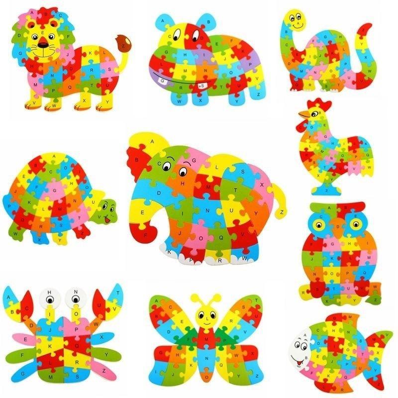 26 أنماط خشبية الحيوان الأبجدية التعلم المبكر لغز بانوراما للأطفال الطفل تربية ألعاب تعليمية ذكية