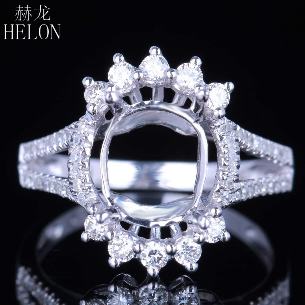 Jewelry & Watches Solid 14k White Gold 8mm Round Cut Semi Mount Wedding Fine Ring Pave Setting Fine Rings
