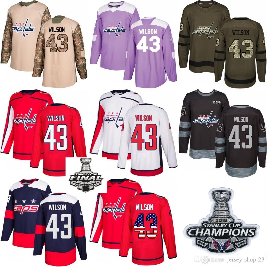 sale retailer d3420 5ddcd 2018 Washington Capitals Stanley Cup Final patch champion patch #43 Tom  Wilson Red White USA Flag Fashion Purple Hockey Jerseys
