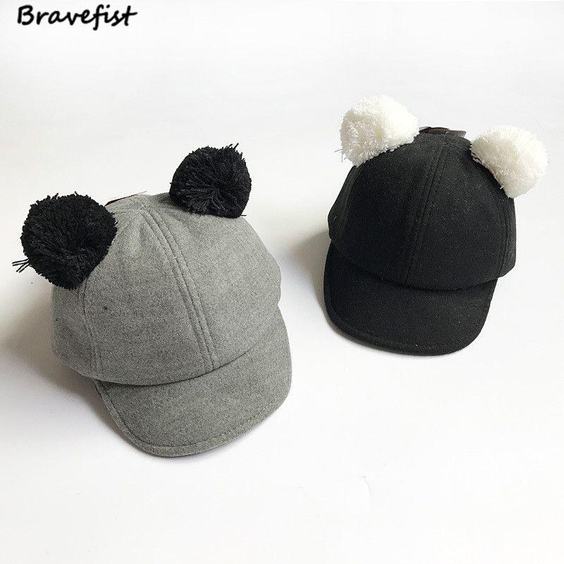2019 Kids Baby Bear Visor Baseball Cap Ball Ears Cotton Peaked Hat Cute Kid Baby  Girl Boy Autumn Winter Outdoor Baseball Hat Cap From Wonderfulss 864976a3307