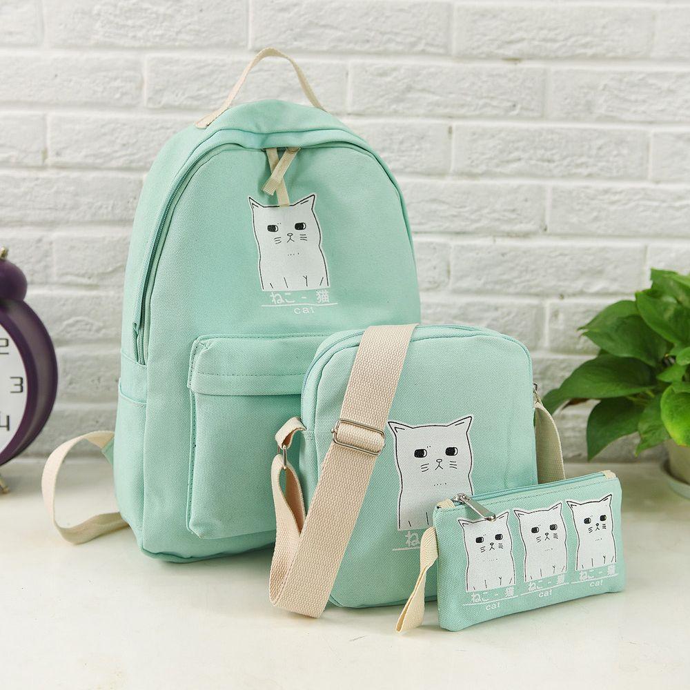 Canvas School Bag Women Backpack Cat Printing Canvas School Bags For Teenager  Girls Preppy Style  PC Rucksack Cute Book Bag Mochila Book Bags Herschel ... d8b9f4e291f4d