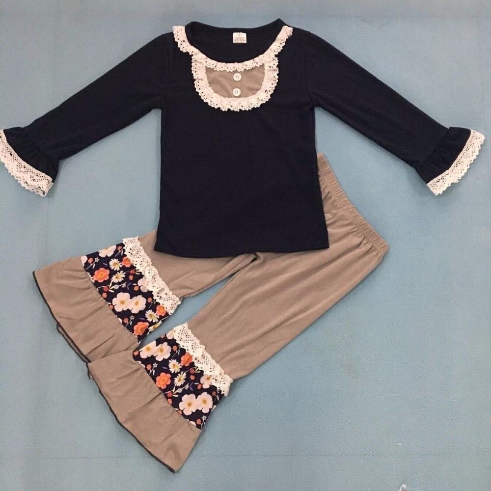 93b9c790a CONICE NINI nuevos trajes de niñas niños ropa de algodón de encaje  estampado negro floral bragas remake boutique conjunto F123