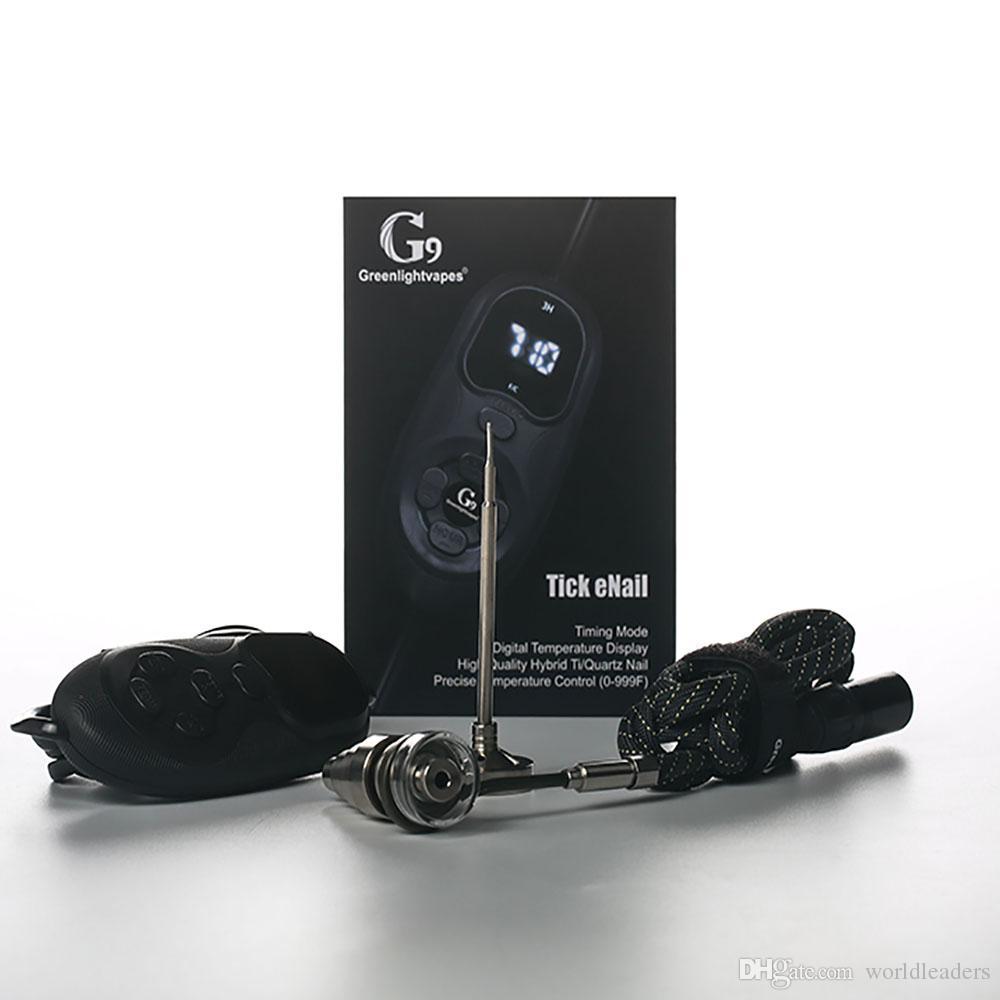 G9 Portátil 16 MM Cuarzo híbrido Titanio Clavo eléctrico D Clavo Control de temperatura PID Digital Tick eNail Kit Para Cera Hierba seca Bong de vidrio