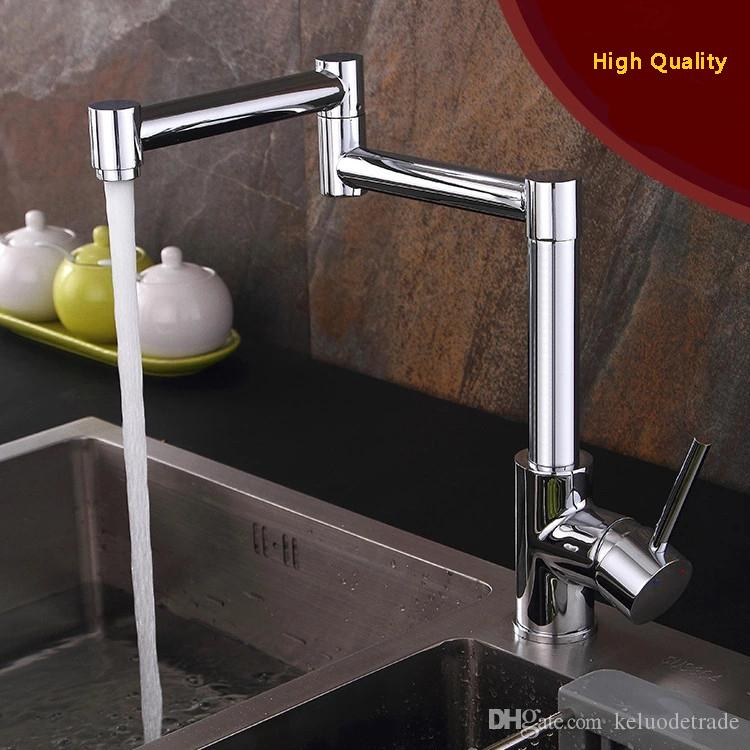 Finished 1 Lever Deck Mount Retractable Pot Filler Kitchen Faucet