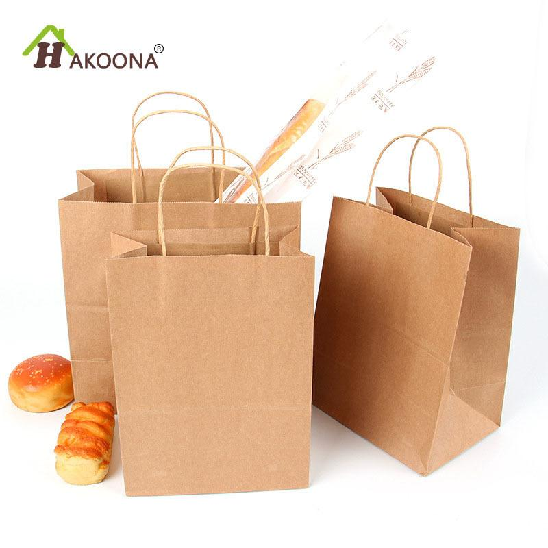 hakoona kraft paper bags with handles for gifts food lunch box multi