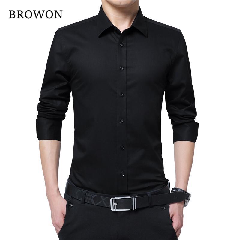 01ede7a5df6576 BROWON Men Fashion Blouse Shirt Long Sleeve Business Social Shirt ...