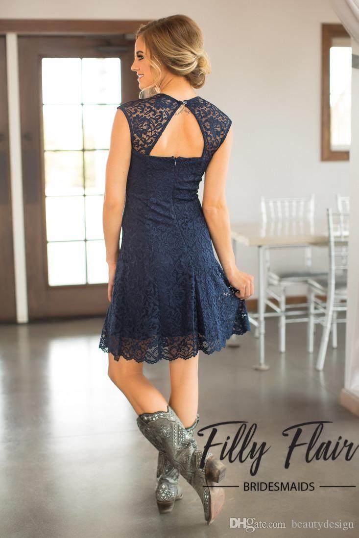 2018 curto azul marinho lace dama de honra vestidos de mangas tampadas na altura do joelho maid of honor vestidos baratos do país vestido de dama de honra
