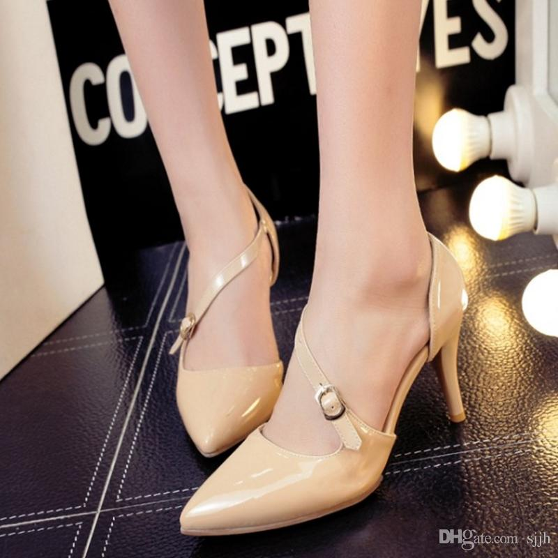 SJJH 2018 Woman Sandals with Pointed Toe and Stiletto Elegant Working OL Shoes for Fashion Women with Large Size Available A123