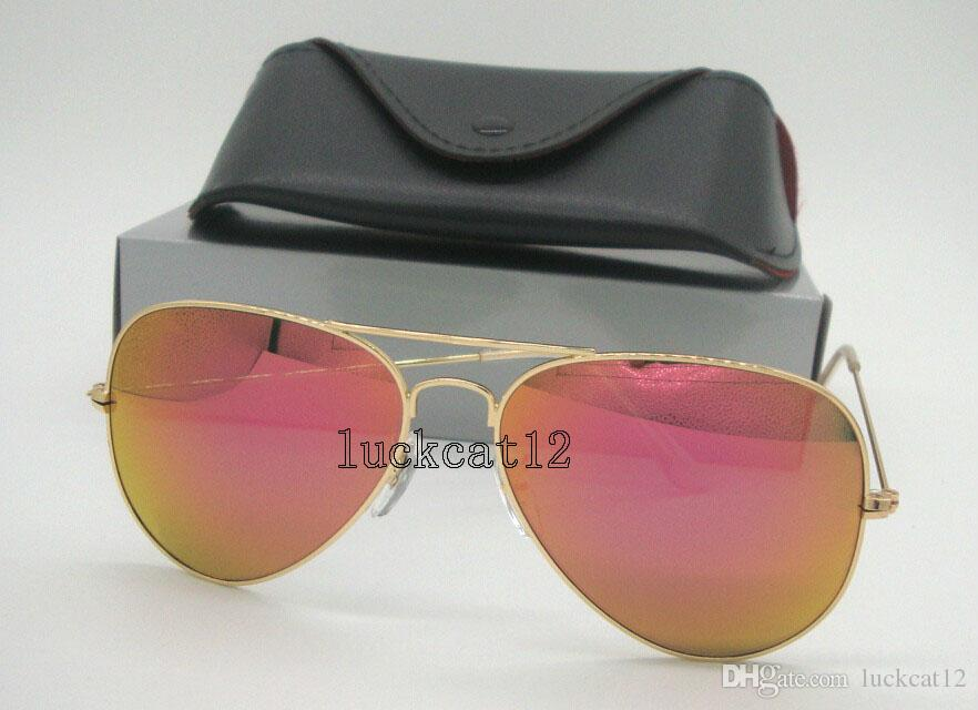 Mens Womens Colorful Sunglasses Pilot Sun Glasses Gold Frame Pink Purple  Flash Mirror Glass Lenses 58MM 62MM Come With All Accessories Sunglasses At  Night ... 2fe889582c