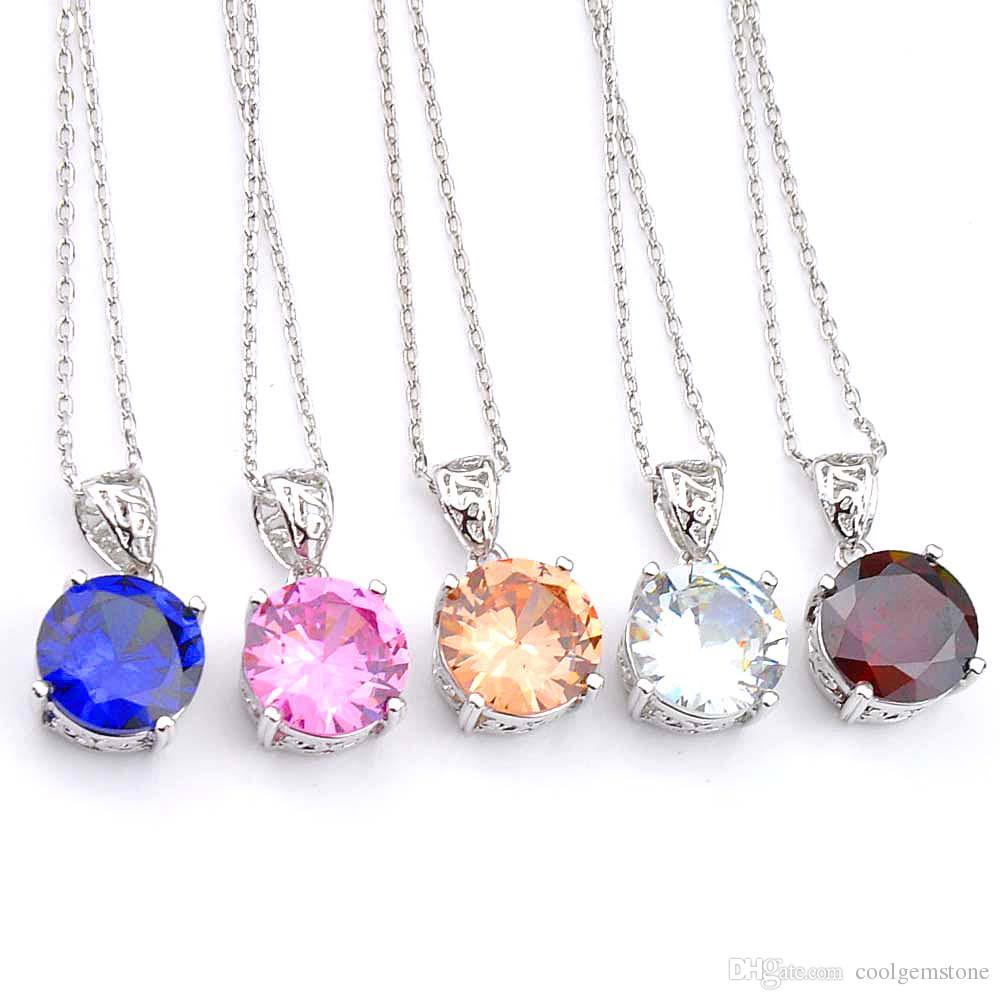 Luckyshine 5 piezas de encanto Ronda de la moda del granate Morganita piedra preciosa del Topaz de la astilla de color CZ Collares pendientes para las mujeres - el envío libre