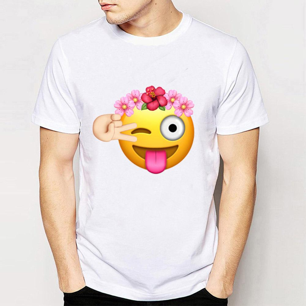 2018 New Summer Fashion MenS Short Sleeve Birthday Girl Emoji With Flower Crown T Shirt High Quality Boy Tees Funny Male Tops And Shop