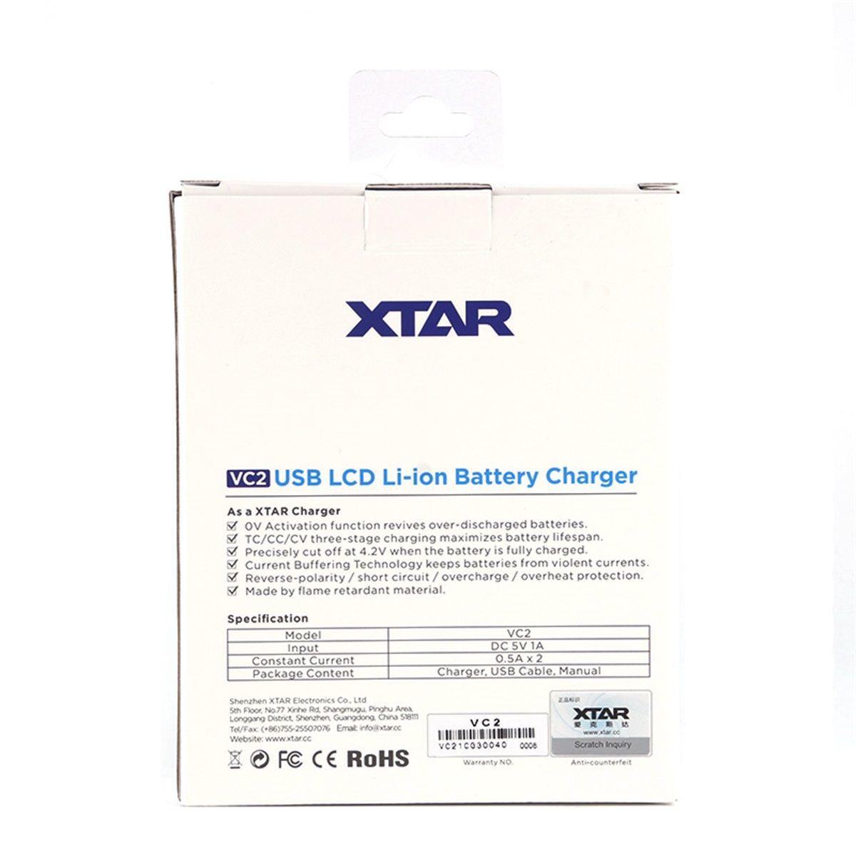 Оригинальное зарядное устройство Xtar VC2 Зарядное устройство Inteligent Mod Dual Slot с ЖК-дисплеем для 18350 18550 18650 16650 литий-ионных аккумуляторов Ni-MH аккумулятор