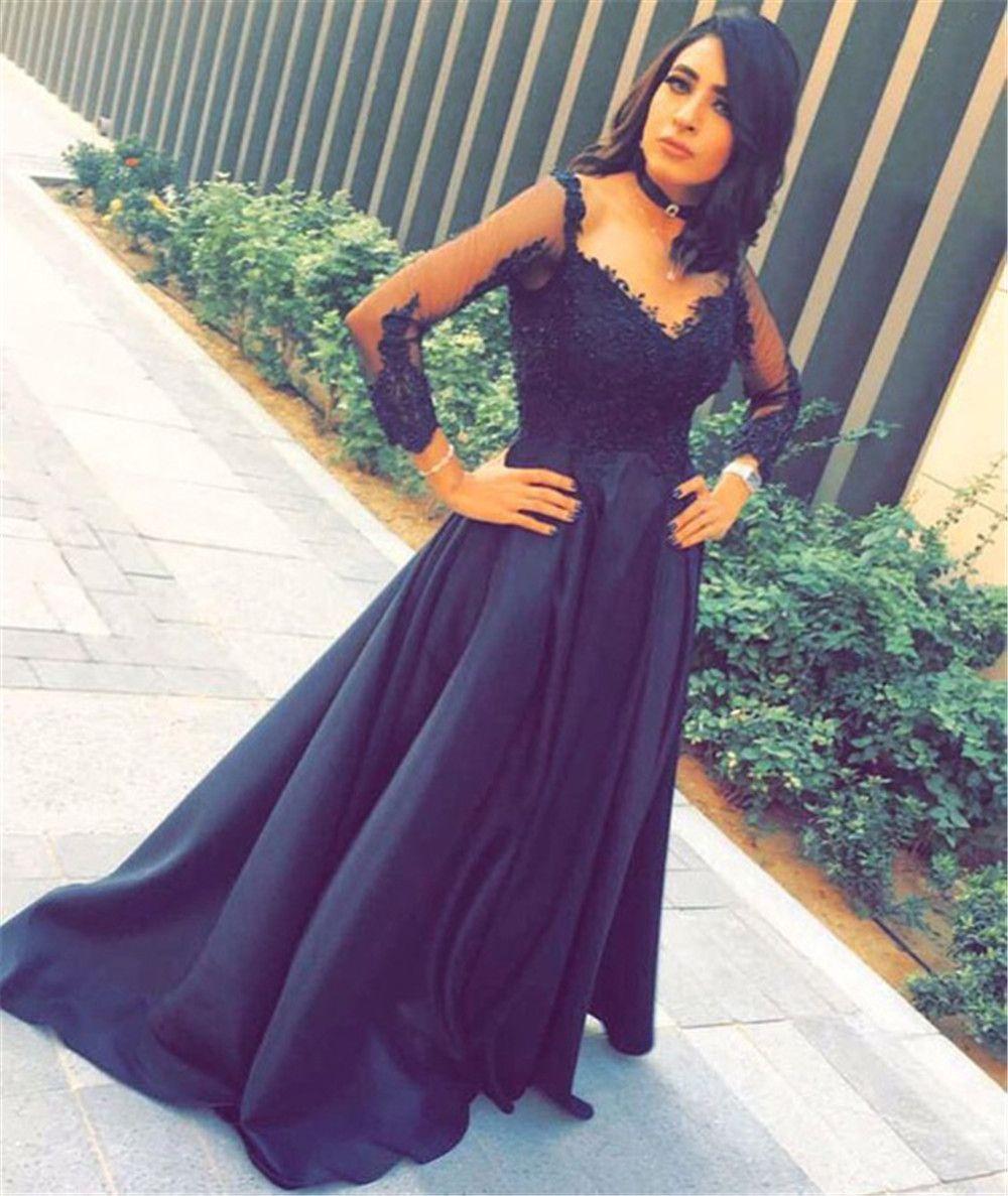 5f8f63b7e Compre Vestidos De Noche De Baile Negro Una Línea De Cariño Ilusión Manga  Larga Aplique Encaje Piso Longitud Satén Fiesta Vestidos De Dama De Honor  Vestidos ...