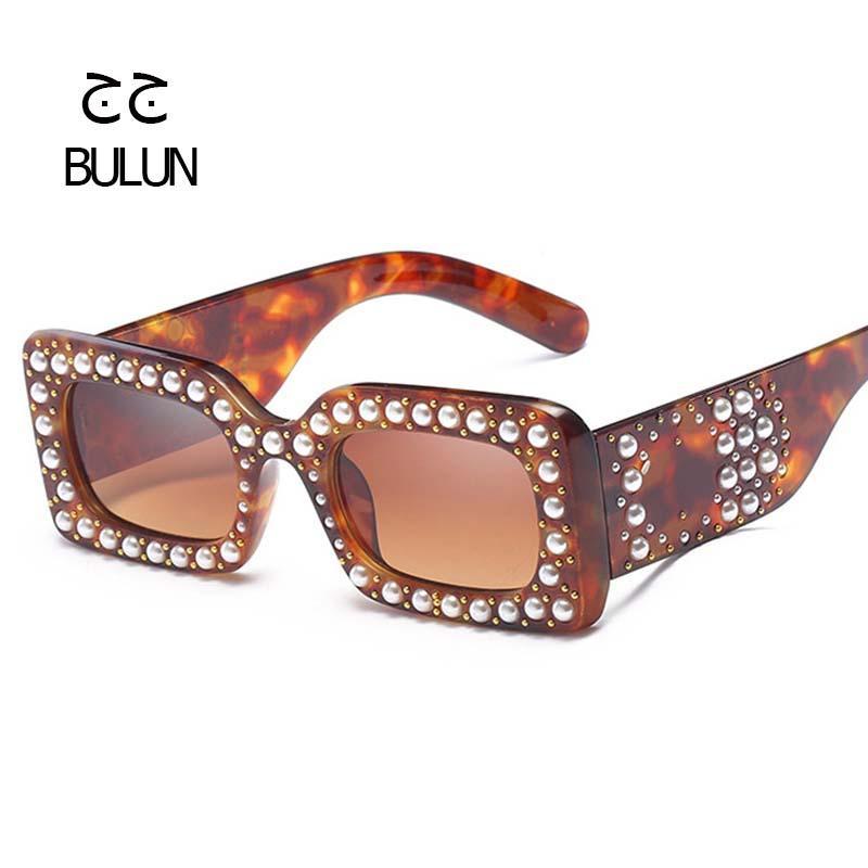 77b627382e BULUN Brand Luxury Cool Small Square Sunglasses Vintage Women Pearl ...