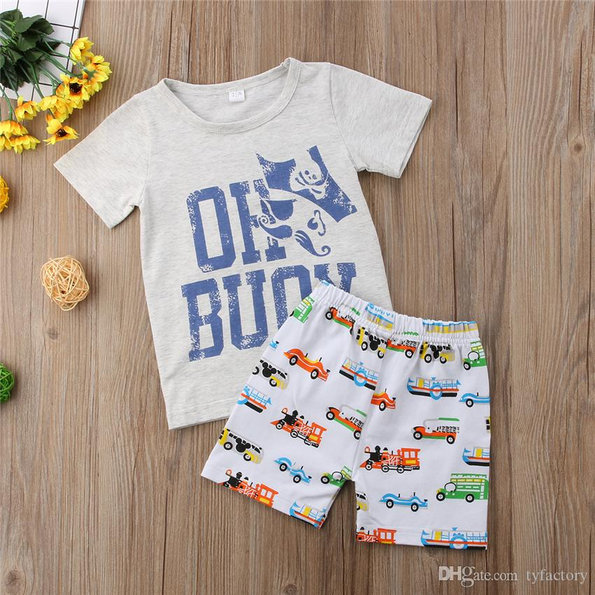 2018 Baby Kinder Jungen Kleidung Cartoon Grau T-Shirt + Autoshorts Set Outfit Kleidung Baby Boy Casual Sport Kleinkind Sommer Boutique 1-6Y
