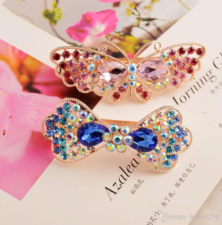 Hair Pieces for Women Girls Flower Headband 2018 Hair Clips Korean Style Barretts with Rhinestone Crystal Costume Jewelry Stores New