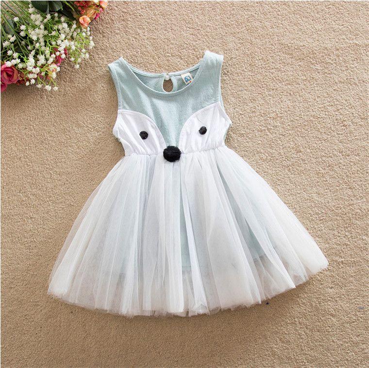 66c333f50 2019 Girls Fox Dresses Kids Cute Dress Sleeveless Princess Dress ...