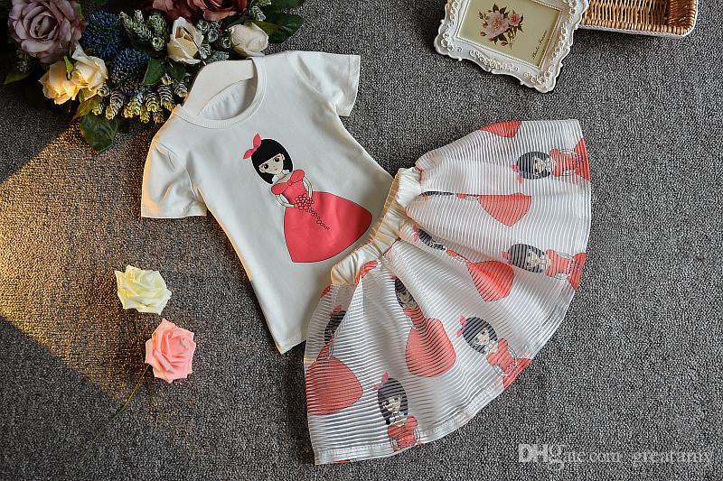 2018 yeni gilr 'ın baskılı bebek kız kıyafetler çocuk yaz giyim seti çocuklar pamuklu Tişört üst + etekler 2 adet suit